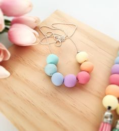 Pure Pastel Polymer clay necklace by LolaAndPearl on Etsy https://www.etsy.com/au/listing/466744362/pure-pastel-polymer-clay-necklace