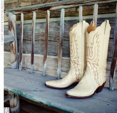 """Cowgirl wedding boots! On left sole put an """"I"""" sticker and on right """"DO"""" sticker!"""