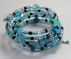 'Aqua and Turquoise Wrap Bracelet' is going up for auction at 12pm Wed, Aug 8 with a starting bid of $10.