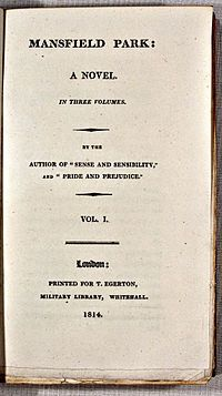 """Jane Austen's novel """"Mansfield Park"""" was published in May 1814. 2014 marks the 200th anniversary of the publication of """"Mansfield Park""""."""