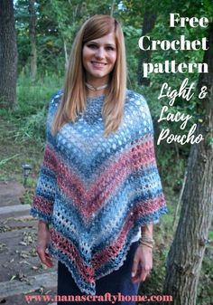 The Midnight Madness Poncho is a free crochet pattern for a light and lacy poncho perfect for layering! An easy to memorize two row repeat creates a flattering throw on and go fashion item! #nanascraftyhome
