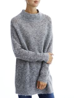 KNITTED LONG SLEEVED BLOUSE, Light Grey Melange