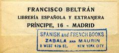 Francisco Beltran, Libreria Espanola y Extranjera, Madrid, Spain (84mm x 25mm, before 1923)