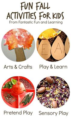 Fun Fall Activities for Kids from Fantastic Fun and Learning~Over 25 creative play activities for fall! Over 25 creative fall activities to enjoy with kids. Includes crafts, learning activities, sensory play, pretend play, and fall snacks. Autumn Activities For Kids, Fall Preschool, Fall Crafts For Kids, Toddler Activities, Preschool Activities, Kids Crafts, Toddler Play, Motor Activities, Halloween Activities