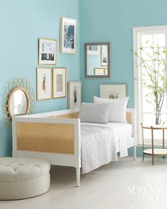 Harbour Cane Daybed - Serena and Lily Best Sleeper Sofas Small Room Bedroom, Home Decor Bedroom, Bedroom Wall, Bedroom Ideas, Girls Bedroom, Bedroom Designs, Blue Bedroom, Master Bedrooms, Small Rooms