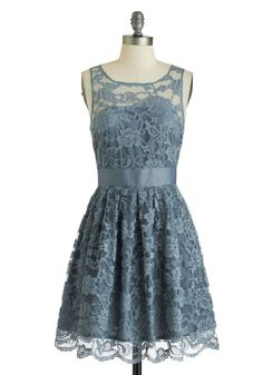 When the Night Comes Dress in Smoke by BB Dakota - Lace, Party, A-line, Sleeveless, Exclusives, Blue, Solid, Scoop, Wedding, Mid-length, Sheer