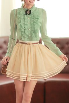 Cute outfit, japanese fashion: light green buttoned up blouse with ruffles and polka dots + white layered skirt