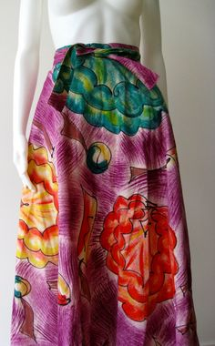Vintage 1950s Mexican Hand Painted Purple  Circle Skirt