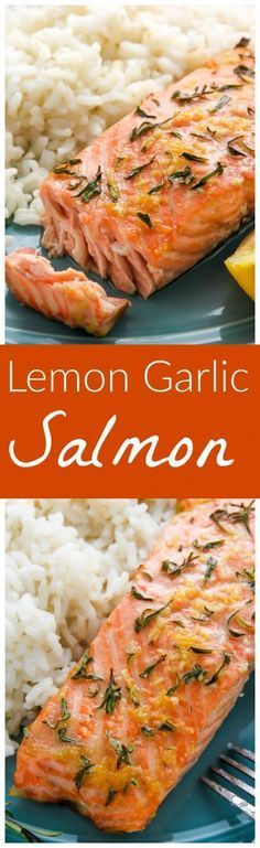 Flavorful lemon garlic and thyme baked salmon ready in just 20 minutes! Flavorful lemon garlic and thyme baked salmon ready in just 20 minutes! Salmon Dishes, Seafood Dishes, Fish Recipes, Seafood Recipes, Simple Baked Salmon, Simple Salmon Recipe, Healthy Dinner Recipes, Cooking Recipes, Easy Healthy Salmon Recipes