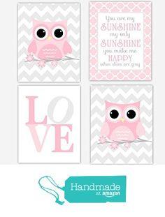 Girl Nursery Wall Art Pink Gray Owls You Are My Sunshine Quote Song Grey Chevron Quatrefoil LOVE Toddler Bedroom Baby Nursery Decor SET OF 4 UNFRAMED PRINTS from Dezignerheart Designs http://www.amazon.com/dp/B016CIMIXK/ref=hnd_sw_r_pi_dp_xpMLwb13RVGR0 #handmadeatamazon