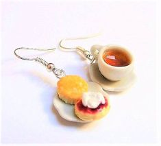 Food Jewelry Tea and Scone Earrings Cream Tea Earrings