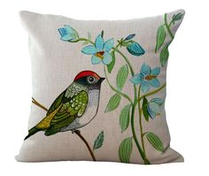 DIY Vintage Hand-painted Flower Bird Cotton Linen Pillow Case Cushion Home Decor Sewing Pillows, Linen Pillows, Throw Pillows, Vintage Cushions, Decorative Cushions, Fabric Painting, Fabric Art, Cushion Embroidery, Decoration