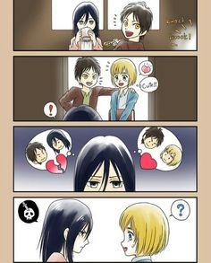 Eren, Mikasa, Armin, 1/4, Attack on titan, AOT, SNK