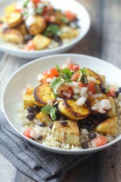 Meatless Cuban Bowl with Roasted Sweet Potatoes, Black Beans,  Pan-Fried Plantains