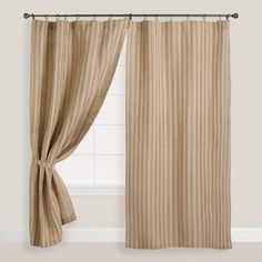 One of my favorite discoveries at WorldMarket.com: Natural Striped Jute Iron Ring Curtains, Set of 2 BEST PRICE SO FAR