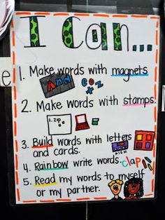 Anchor chart for working with words