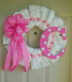 Baby Girl Pink Polka Dot and Chevron Diaper Wreath with Initial by TowerDoorDecor, Baby Shower Crafts, Baby Shower Fun, Girl Shower, Baby Crafts, Baby Shower Parties, Baby Shower Decorations, Shower Gifts, Baby Shower Diapers, Diaper Shower