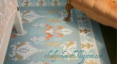 DIY painted floor tutorial Painted Wood Floors, Painted Rug, Painted Furniture, Hardwood Floors, Stenciled Curtains, Stenciled Floor, Damask Stencil, Stencil Patterns, Wall Patterns