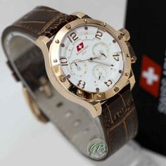 Swiss Army 3236 Rosegold White Brown Leather (4.2cm) IDR 770K