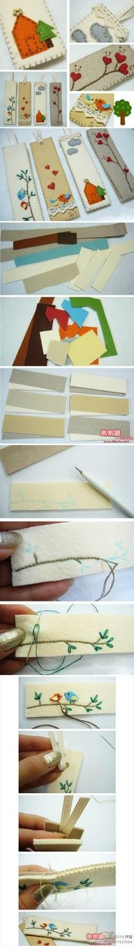 embroidered felt bookmarks