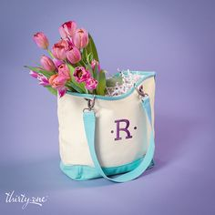 Thirty-One Gifts - Filled with beautiful fresh flowers, the Mini Canvas Crew makes a perfect gift for any spring celebration. #ThirtyOneGifts #ThirtyOne #JewellByThirtyOne #Monogramming #Organization #MarchSpecial