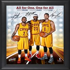 """Cleveland Cavaliers Framed Big 3 (LeBron James, Kyrie Irving, Kevin Love) 15"""" x 17"""" Photo Collage"""