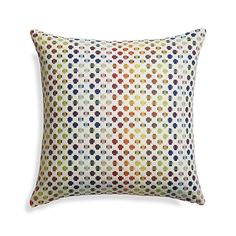 "Shop Trea 20"" Pillow.  Thick and thin cotton yarns cross hatch a full spectrum of colorful dots on ivory to create this vibrant pillow.  Our decorative pillows include your choice of a plush feather-down or lofty down-alternative insert at no extra cost."