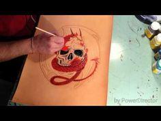 Painting on leather 2 Painting Leather, Handmade Leather, Skull, Tattoos, Youtube, Tatuajes, Tattoo, Youtubers, Tattos