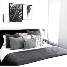 whiane 30 amazing black and white bedroom design ideas for 2020 # amazing # for # black and white be Black White And Grey Bedroom, White Bedroom Design, Grey Bedroom Decor, White Room Decor, Room Ideas Bedroom, Bedroom Black, Home Bedroom, Decor Room, Light Gray Bedroom