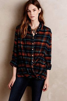Draped Plaid Buttondown - anthropologie.com