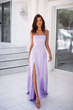 Thea - Lilac Thea - Lilac Ombre Satin Gown with Tie-Up Straps & Side Slit Source by dress short Light Purple Prom Dress, Lavender Prom Dresses, Pretty Prom Dresses, Lilac Dress, Hoco Dresses, Satin Dresses, Ball Dresses, Homecoming Dresses, Satin Gown