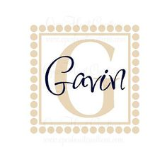 Initial and Name Vinyl Wall Decal with Polka Dot Border
