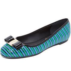 Salvatore Ferragamo Varina Zigzag Flats ($775) ❤ liked on Polyvore featuring shoes, flats, salvatore ferragamo, multi colored flats, polish shoes, salvatore ferragamo shoes and multicolor shoes