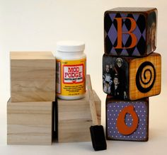 """How to make super cute wooden blocks that spell """"BOO"""" with pictures of kids at Halloween"""