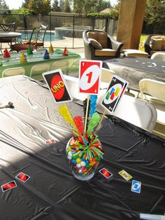 Uno birthday party centerpiece
