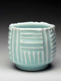 porcelain textured tea bowl.
