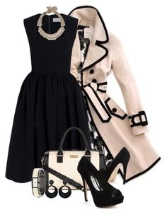 A fashion look from July 2013 featuring short dresses, pink trench coats and black peep toe shoes. Browse and shop related looks. Retro Mode, Mode Vintage, Mode Chic, Mode Style, Classy Outfits, Stylish Outfits, Work Fashion, Fashion Looks, Fashion Fashion