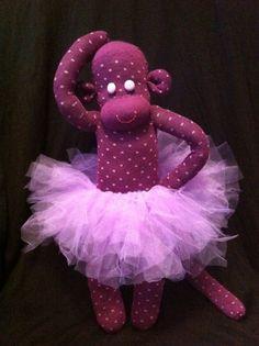 #SockMonkeyBallerina sock monkey stuffed animal purple with pink dots by GARBUBOT