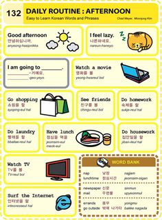 Korean language: Daily Routine + Afternoon