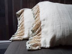 Shabby QUEEN shams. Set of 2. Lace ruffle shams. Country chic pillow cases. Ecru, light khaki linen Sea foam and beige lace. Christmas gift. on Etsy, $85.03