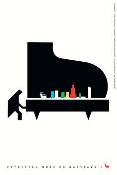 FRYDERYKU! WRÓĆ DO WARSZAWY! / COME BACK TO WARSAW, FRYDERYK! 9. edycja konkursu Galerii Plakatu AMS, temat: związki Fryderyka Chopina z Warszawą (2009)/ 9th edition of the AMS Poster Gallery competition, theme: Fryderyk Chopin's connections with Warsaw (2009) JERZY TCHÓRZEWSKI - WYRÓŻNIENIE