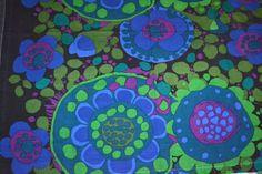 Vintage fabric Ekerö design Saini Salonen Borås Cotton 70s Sweden