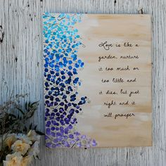 Hand Painted Canvas  Love Is Like A Garden by Mae2Designs on Etsy