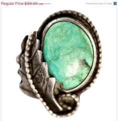 Ring Sale Navajo Silver Leaf Turquoise Ring by Yourgreatfinds