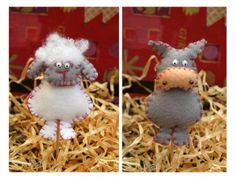 Felt Farm Animals  Party Toppers set  set of 4 by pugsnpigs, $20.00