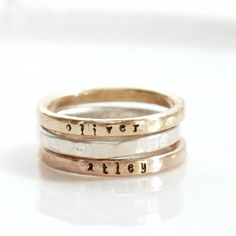 mixed metals, NAMES: Shane, Charlotte    Set of Stacking Rings, mixed metals, Gold Filled Name Stacked Ring, Personalized Hand Stamped Ring, Custom Mom Ring, Kids Skinny Name Ring