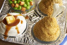 TV Dinner Cupcakes  Fruit Chews = Carrots!  Frosting = Mashed Potatoes!  Corn Flakes = Fried Chicken!  Starbursts = Butter!  Caramel = Gravy!