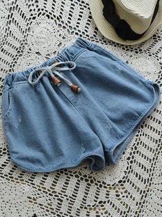 Elastic Drawstring Waist Denim Hot Shorts - Denim Blue