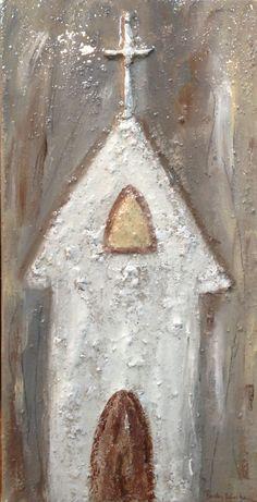 Barclay Gresham's original Church painting using mixed media at Four Seasons… Diy Painting, Painting On Wood, Painting & Drawing, Paintings I Love, Cross Paintings, Wood Paintings, Cross Art, Diy Art, Art Crafts
