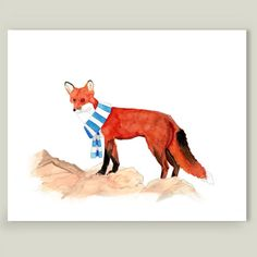 Red Fox with a Scarf Art Print by allbroke on BoomBoomPrints